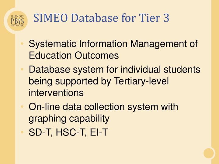 SIMEO Database for Tier 3