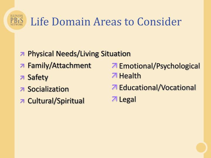 Life Domain Areas to Consider
