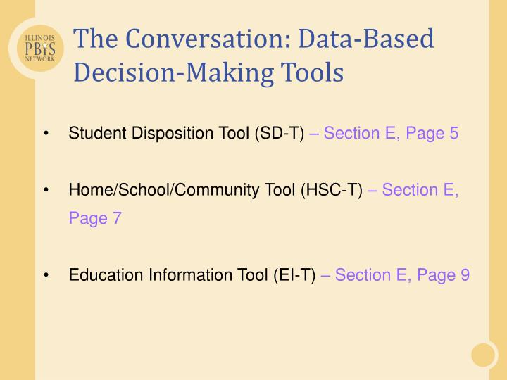 The Conversation: Data-Based Decision-Making Tools