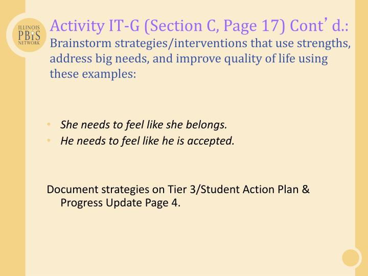 Activity IT-G (Section C, Page 17) Cont