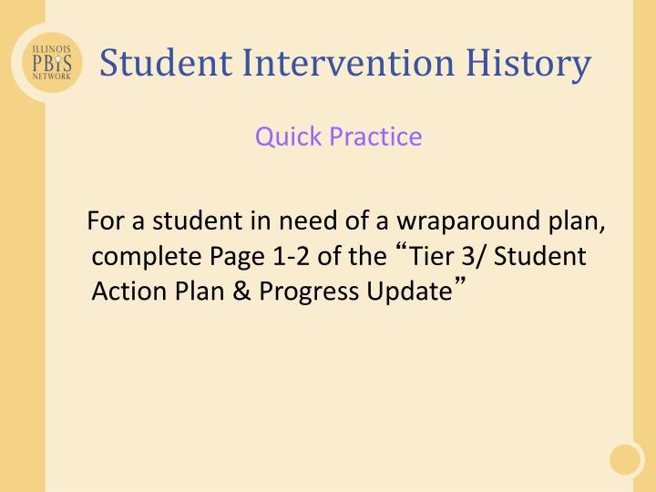 Student Intervention History