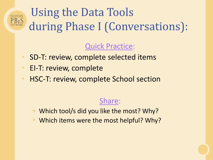 Using the Data Tools