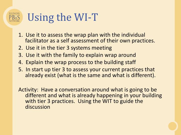 Using the WI-T