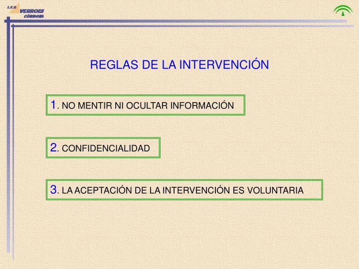 REGLAS DE LA INTERVENCIÓN