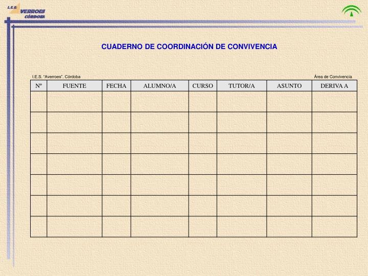 CUADERNO DE COORDINACIÓN DE CONVIVENCIA