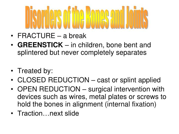 Disorders of the Bones and Joints
