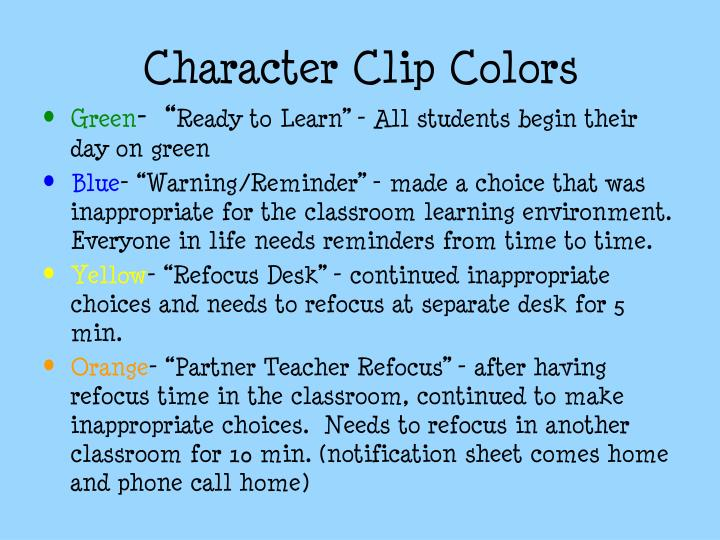 Character Clip Colors