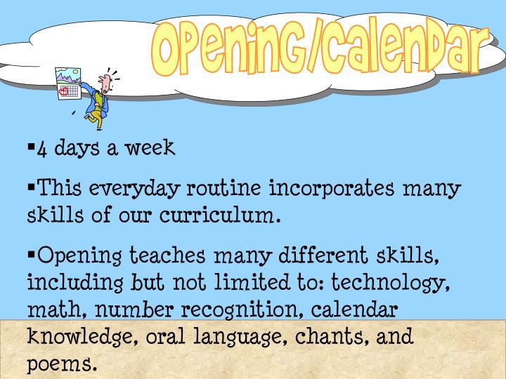 Opening/Calendar