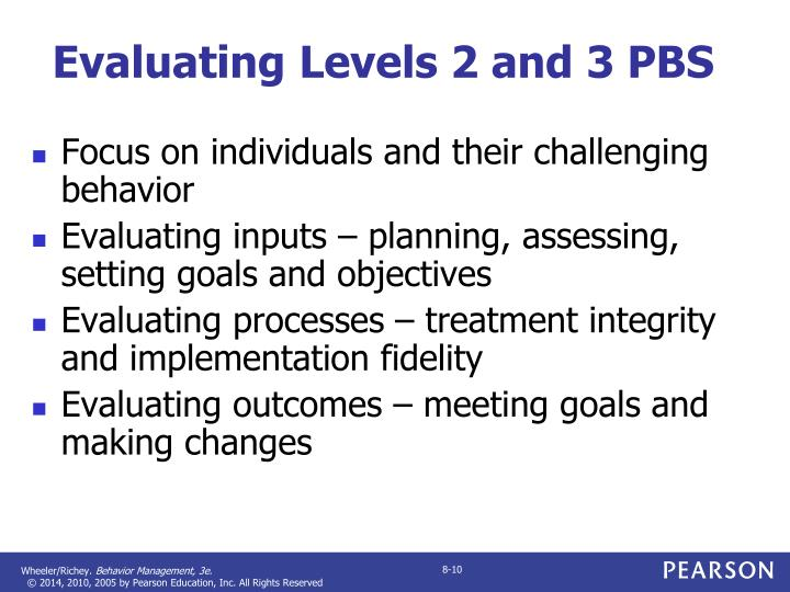 Evaluating Levels 2 and 3 PBS