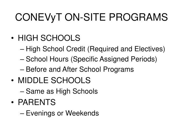 CONEVyT ON-SITE PROGRAMS
