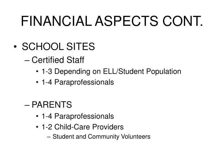 FINANCIAL ASPECTS CONT.