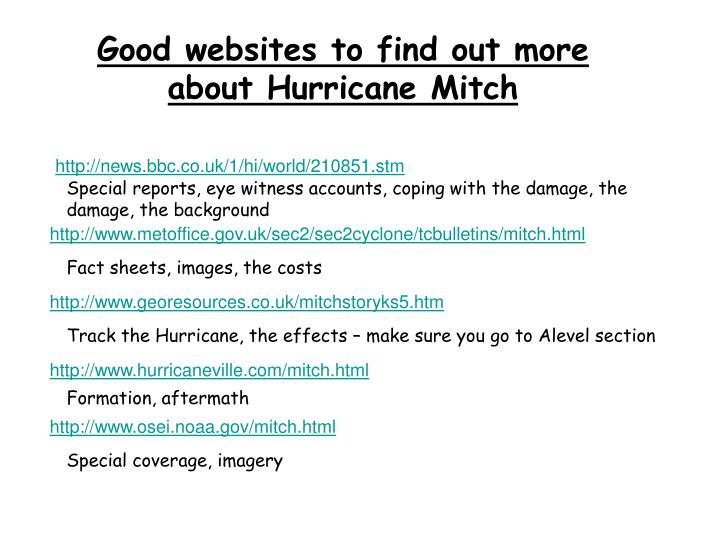 Good websites to find out more about Hurricane Mitch