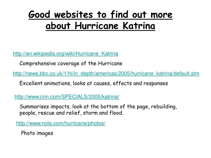 Good websites to find out more about Hurricane Katrina