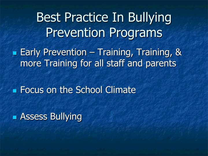 Best Practice In Bullying Prevention Programs