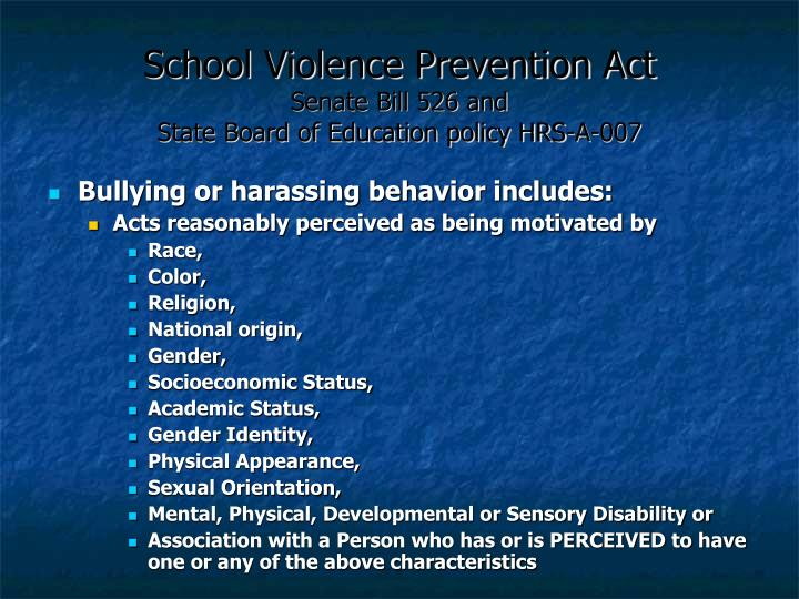School Violence Prevention Act