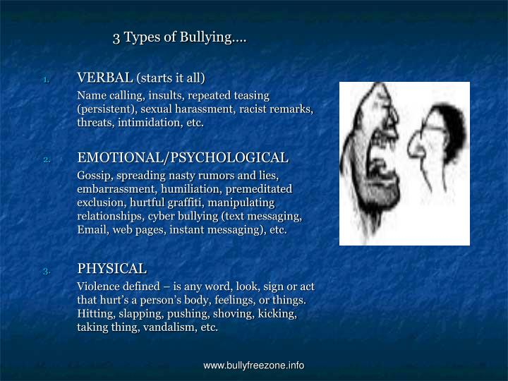 3 Types of Bullying….
