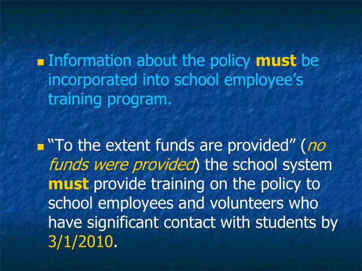 Information about the policy