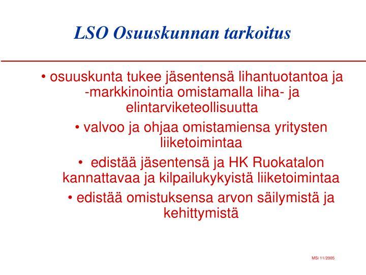LSO Osuuskunnan tarkoitus