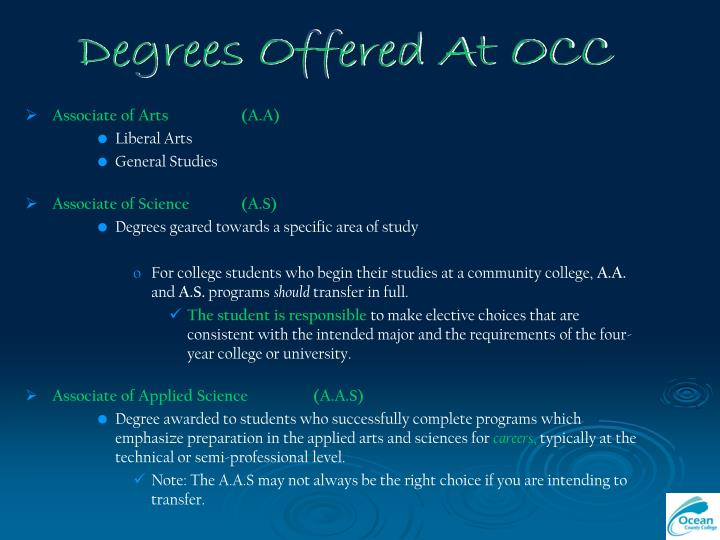 Degrees Offered At OCC