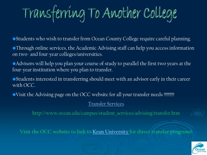 Transferring To Another College