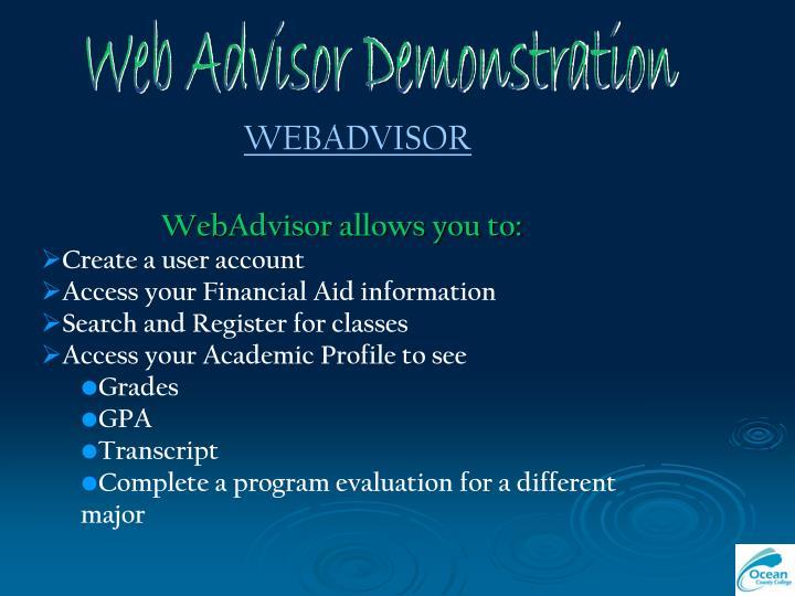 Web Advisor Demonstration