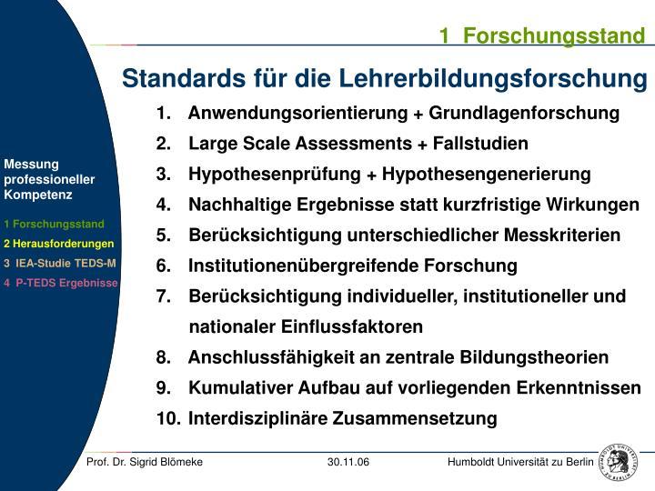 Standards f r die lehrerbildungsforschung