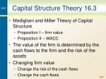 capital structure theory 16 3