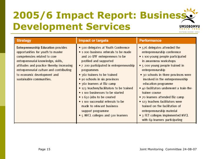 2005/6 Impact Report: Business Development Services