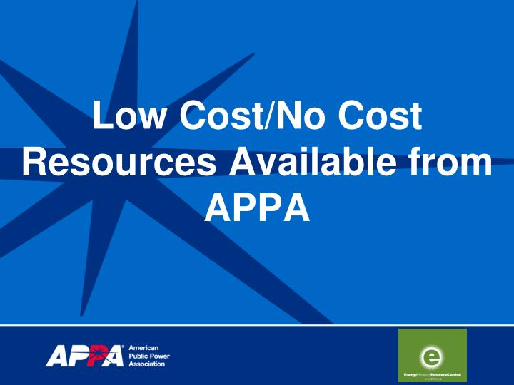 low cost no cost resources available from appa n.