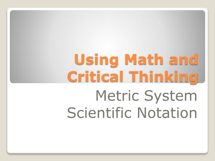 using math and critical thinking n.