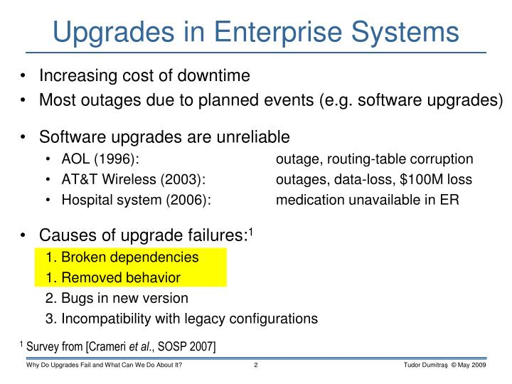 Upgrades in enterprise systems