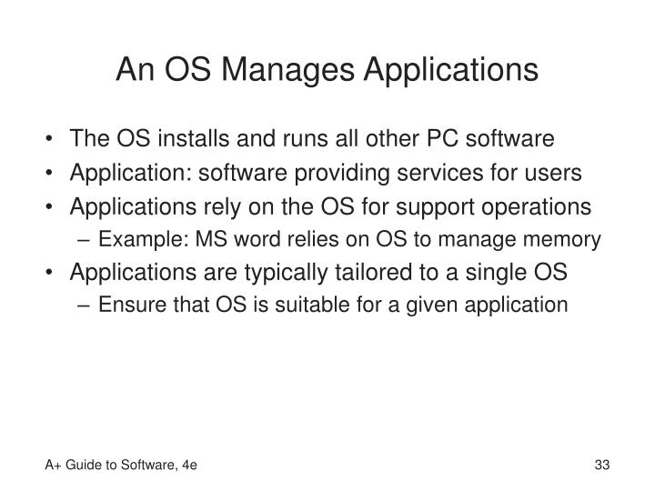 An OS Manages Applications