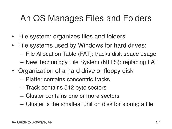 An OS Manages Files and Folders
