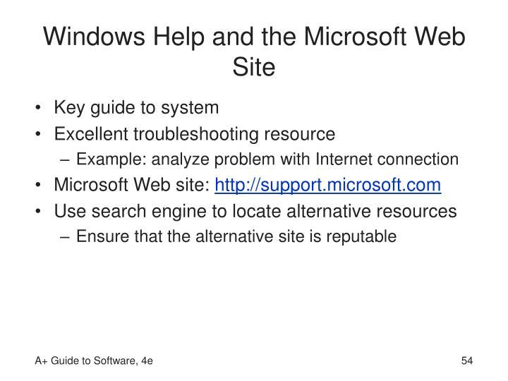Windows Help and the Microsoft Web Site