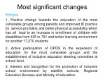 most significant changes1
