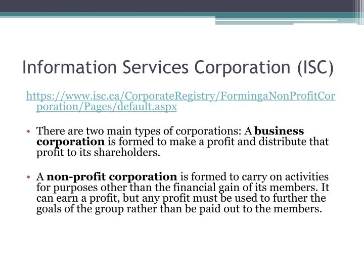 Information services corporation isc