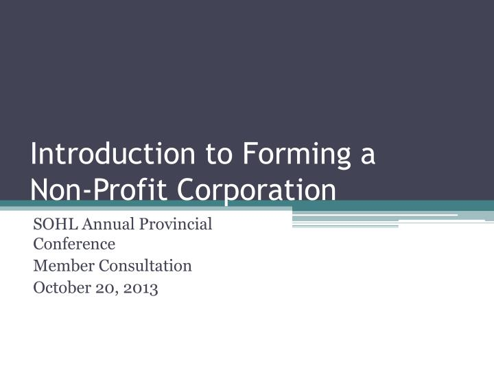 Introduction to forming a non profit corporation