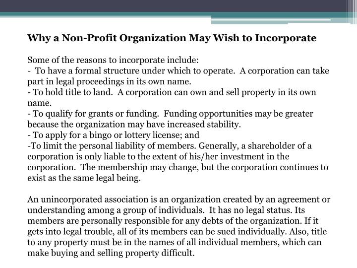 Why a Non-Profit Organization May Wish to Incorporate