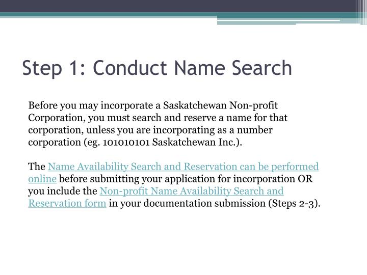 Step 1: Conduct Name Search