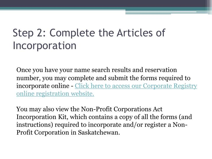 Step 2: Complete the Articles of Incorporation