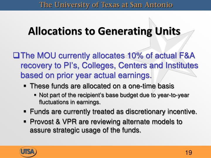 Allocations to Generating Units