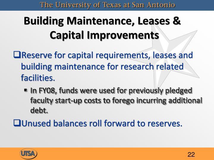 Building Maintenance, Leases & Capital Improvements