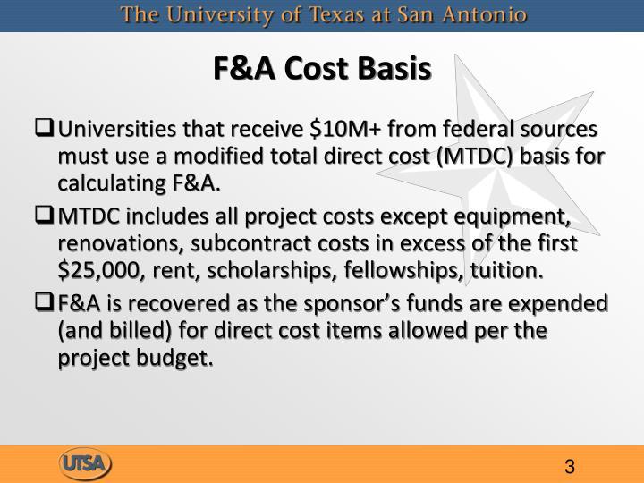 F&A Cost Basis