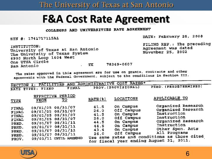 F&A Cost Rate Agreement