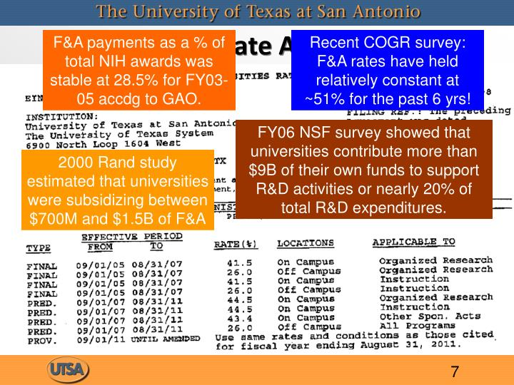F&A payments as a % of total NIH awards was stable at 28.5% for FY03-05 accdg to GAO.