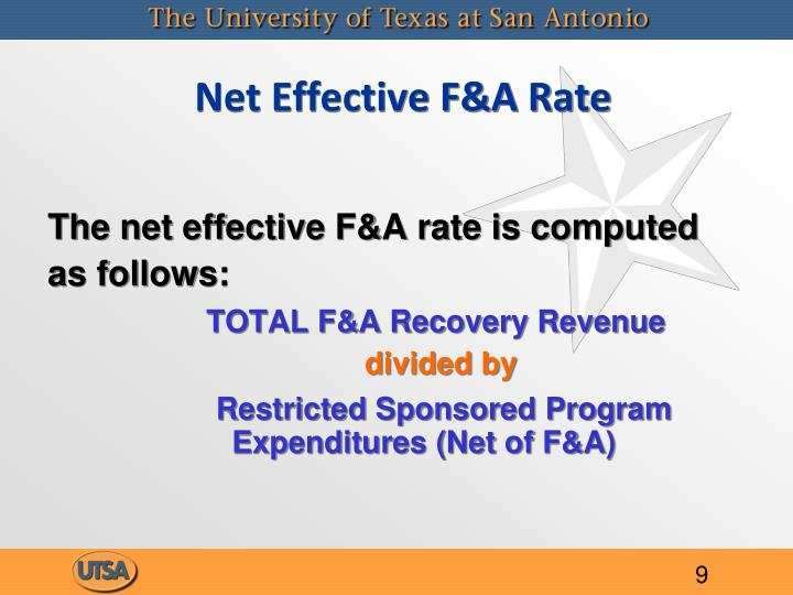 Net Effective F&A Rate