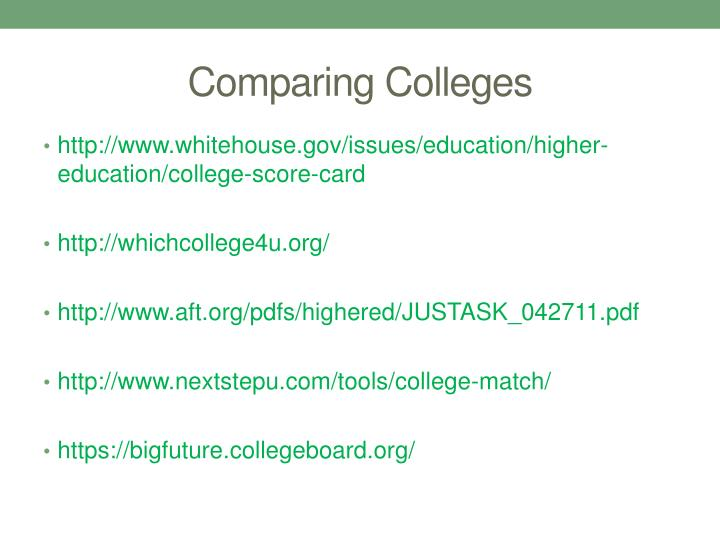 Comparing Colleges