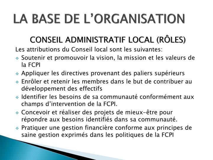 LA BASE DE L'ORGANISATION