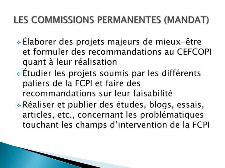 LES COMMISSIONS PERMANENTES (MANDAT)