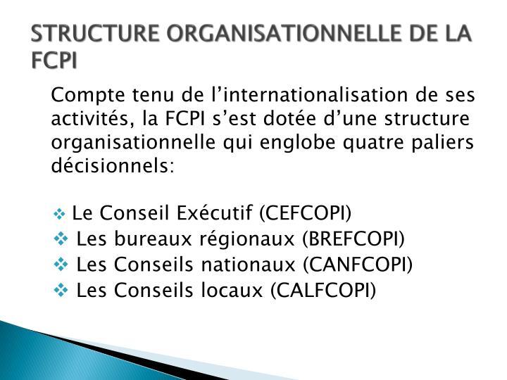 STRUCTURE ORGANISATIONNELLE DE LA FCPI